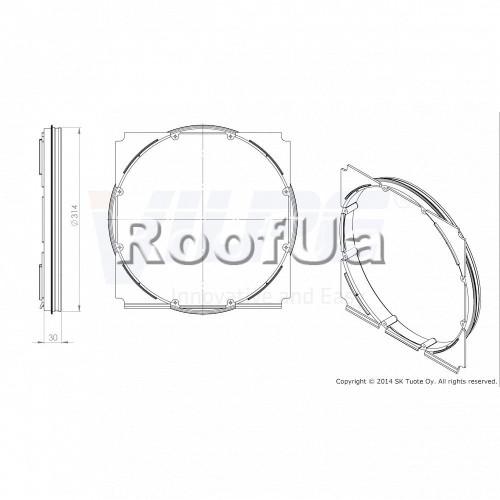Фланец наружной вентиляционной решетки 315 мм (375x375)
