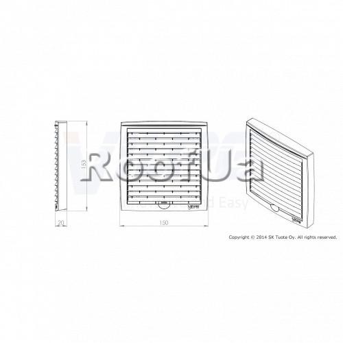 Наружная вентиляционная решетка 150x150